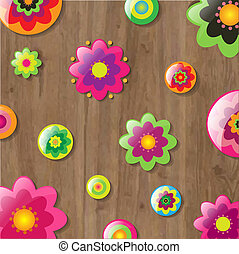 Wooden Background With Flowers, Vector Illustration