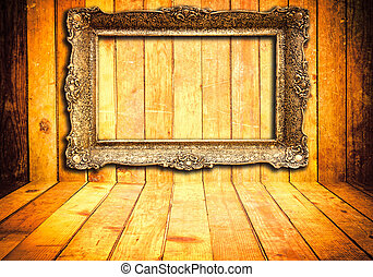 Wooden background with frame