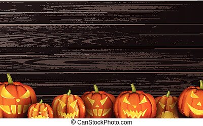 Wooden background with halloween pumpkins.