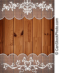 Wooden Background With Lace Frame