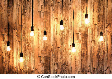 Wooden background with lamps