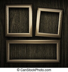 wooden background with metal element. 3D illustration