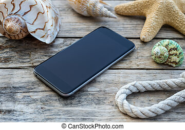 Wooden background with phone - Wooden background with...