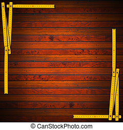 Wooden Background with Ruler Frame - Frame made from a old...