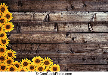 Wooden background with sunflowers border