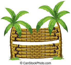 Wooden background with two coconut trees