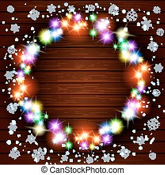 Wooden background with vintage garlands, Vector EPS10, Christmas lights show