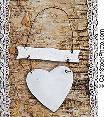 Wooden background with white lace - Wooden birch background ...