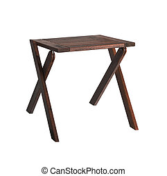 Wooden Backless Stool isolated on white