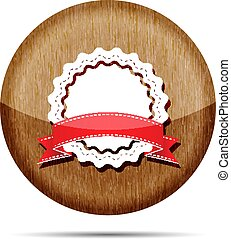 wooden badge with red ribbon icon - vector illustration
