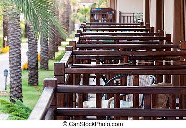Wooden balconies in Turkish hotel