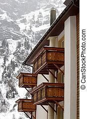 Wooden balconies in winter