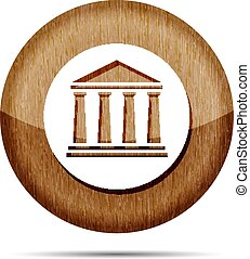 wooden bank icon on a white background
