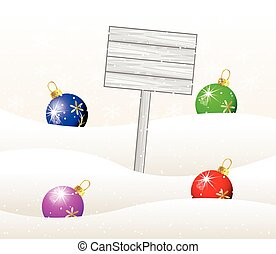 wooden banner and christmas toys