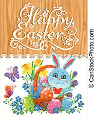 Wooden banner with bunny Easter