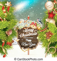 Wooden banner with Christmas Fir-tree branches.