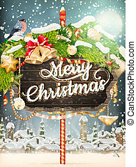 Wooden banner with Christmas Fur-tree branches. EPS 10...