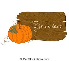 Wooden Banner with Pumpkin