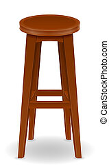 wooden bar chair stool set icons illustration