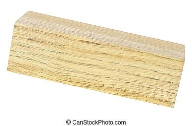 Wooden bar isolated on white background. Oak tree.