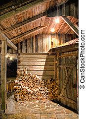 Wooden Barn at Night