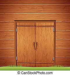 Wooden Barn Door. Vector Image