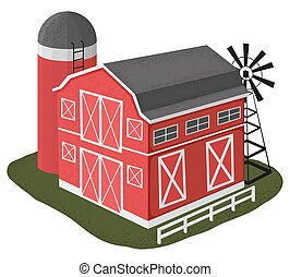 Wooden barn house illustration in cartoon style.  Vector illustration on white background