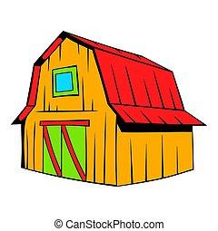 Wooden Barn Icon Cartoon