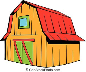 Wooden barn icon cartoon