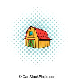 Wooden barn icon, comics style