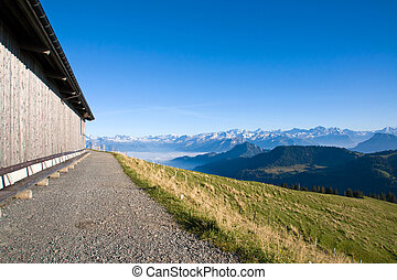 Wooden barn in the alps