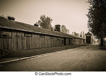 Wooden barracks for guard in former Nazi concentration camp...