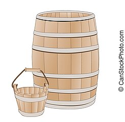 wooden barrel and bucket
