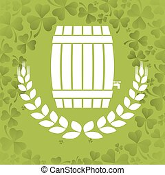 wooden barrel beer wheat clover background vector...