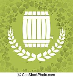 wooden barrel beer wheat clover background vector...