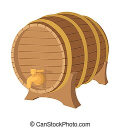 Wooden barrel cartoon icon