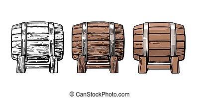 Wooden barrel. Color vintage engraving and flat vector...