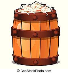 Wooden barrel filled with fermented vegetarian sauerkraut...