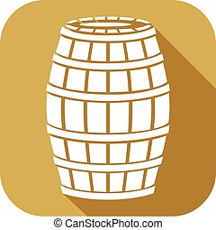 wooden barrel flat icon