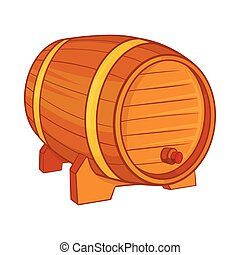 Wooden barrel for beer icon, cartoon style