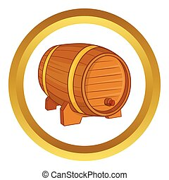 Wooden barrel for beer vector icon