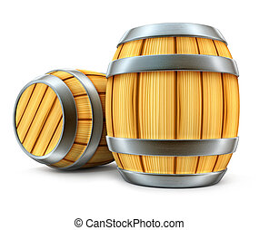 wooden barrel for wine and beer storage isolated - wooden ...