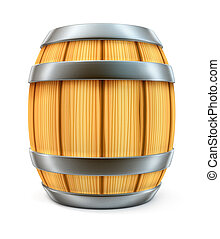 wooden barrel for wine and beer storage isolated on white...