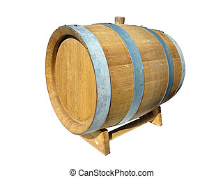 Wooden barrel for wine isolated over white