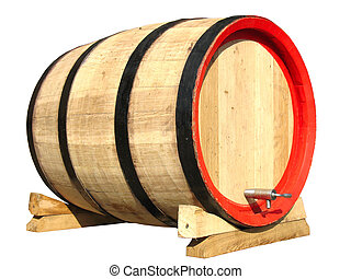 wooden barrel for wine isolated over white background