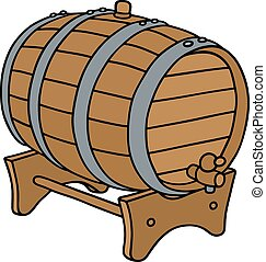 Wooden barrel - Hand drawing of a classic wooden barrel