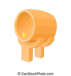 Wooden barrel icon, cartoon style