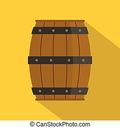 Wooden barrel icon, flat style