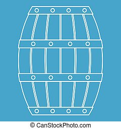 Wooden barrel icon, outline style - Wooden barrel icon blue...