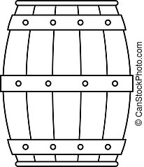 Wooden barrel icon, outline style